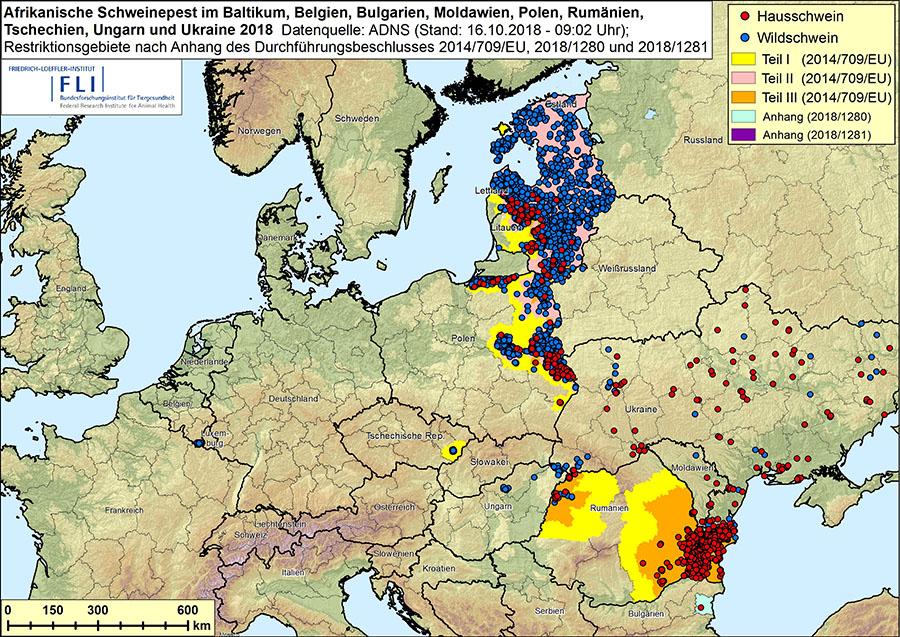 Afrikanische Schweinepest ASF im Baltikum, in Belgien, Bulgarien, Moldawien, Polen, Rumänien, Tschechien, Ungarn und Ukraine in 2018, Stand 16.10.2018, 09:02 Uhr